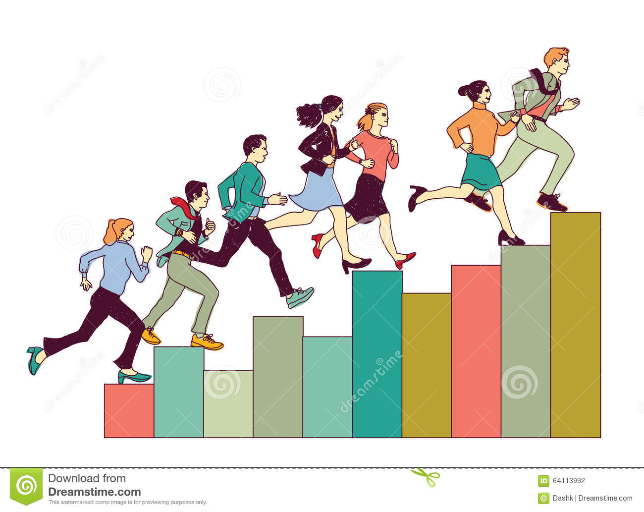 Business People Run On Graph Diagram  Stock Vector