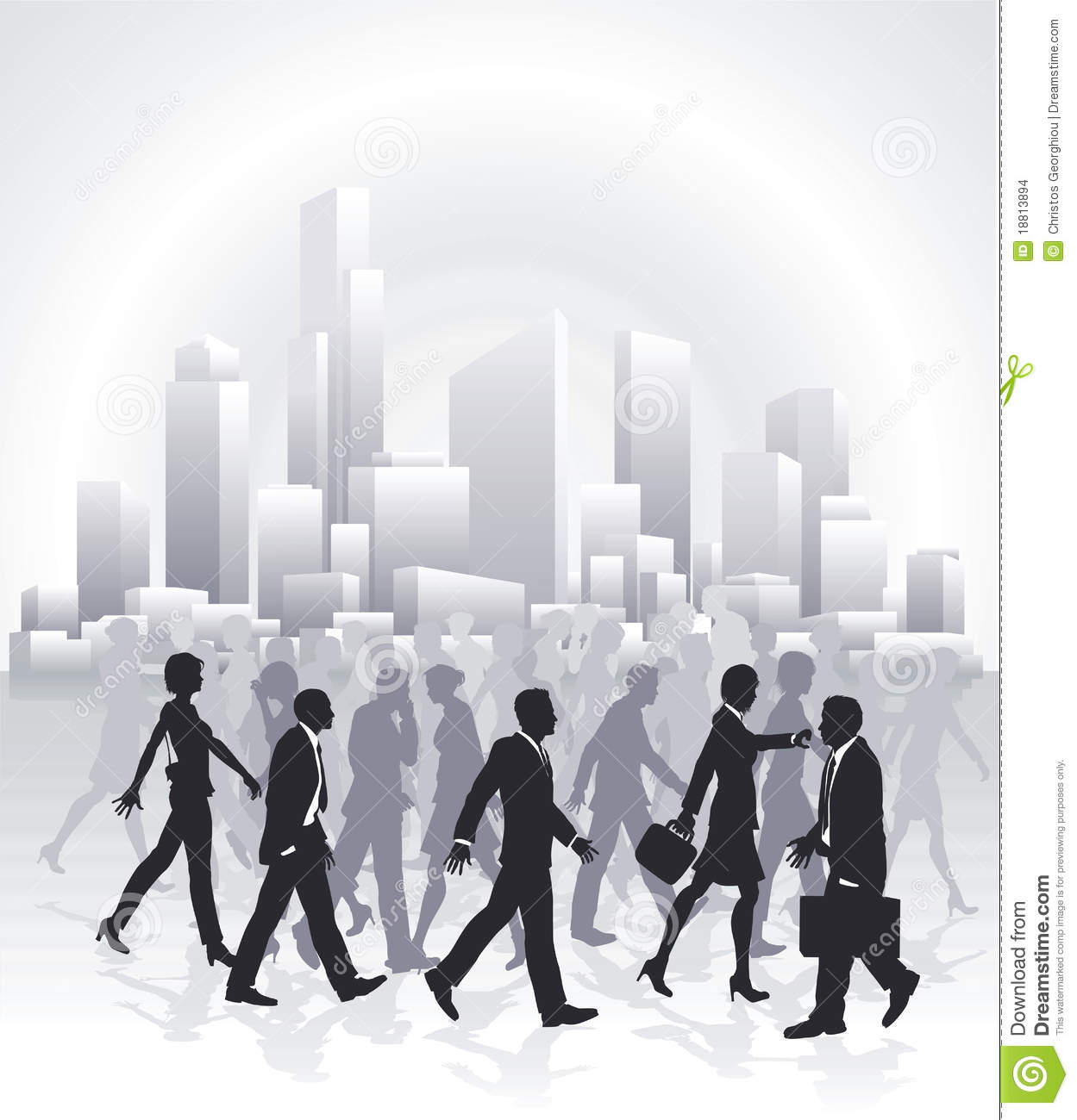 Business People Rushing In Front Of City Skyline Stock ...