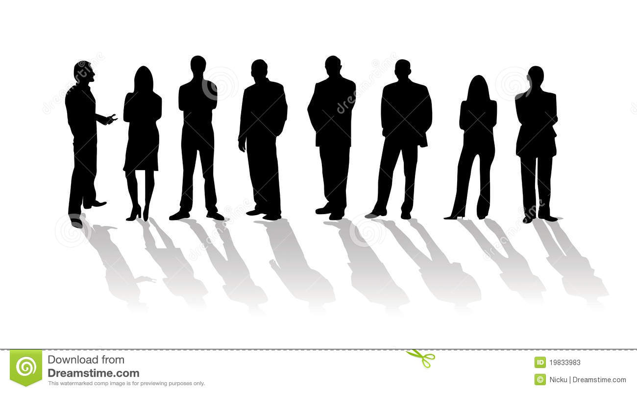 Business people silhouette with shadows isolated on white. Eagle Silhouette Vector