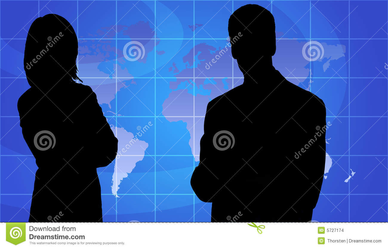 Business People Silhouette, World Map Background