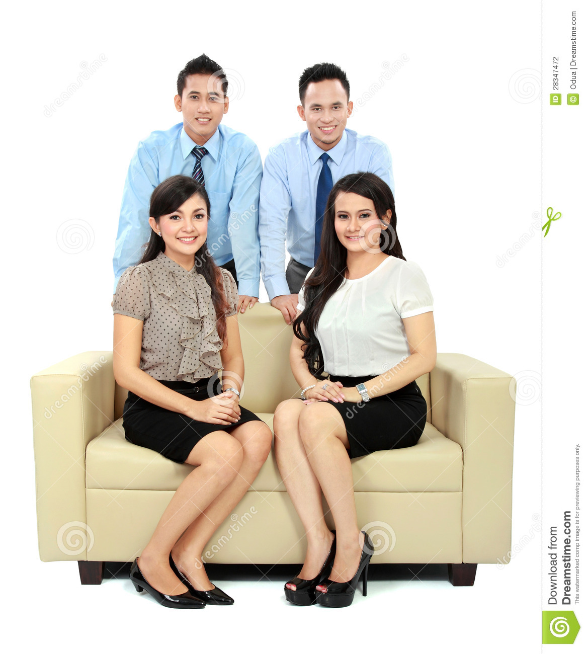 business people sitting on the couch stock photo image. Black Bedroom Furniture Sets. Home Design Ideas