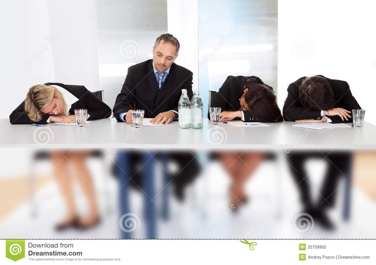 business people sleeping at the meeting stock photo image of board