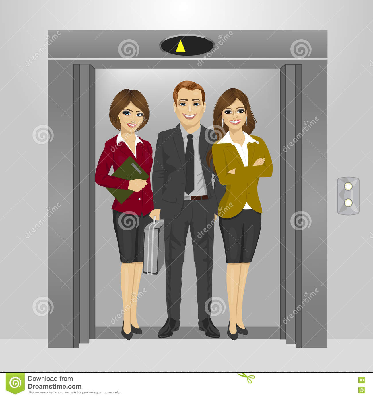 people standing in elevator. royalty-free vector. download business people standing together inside office building elevator in