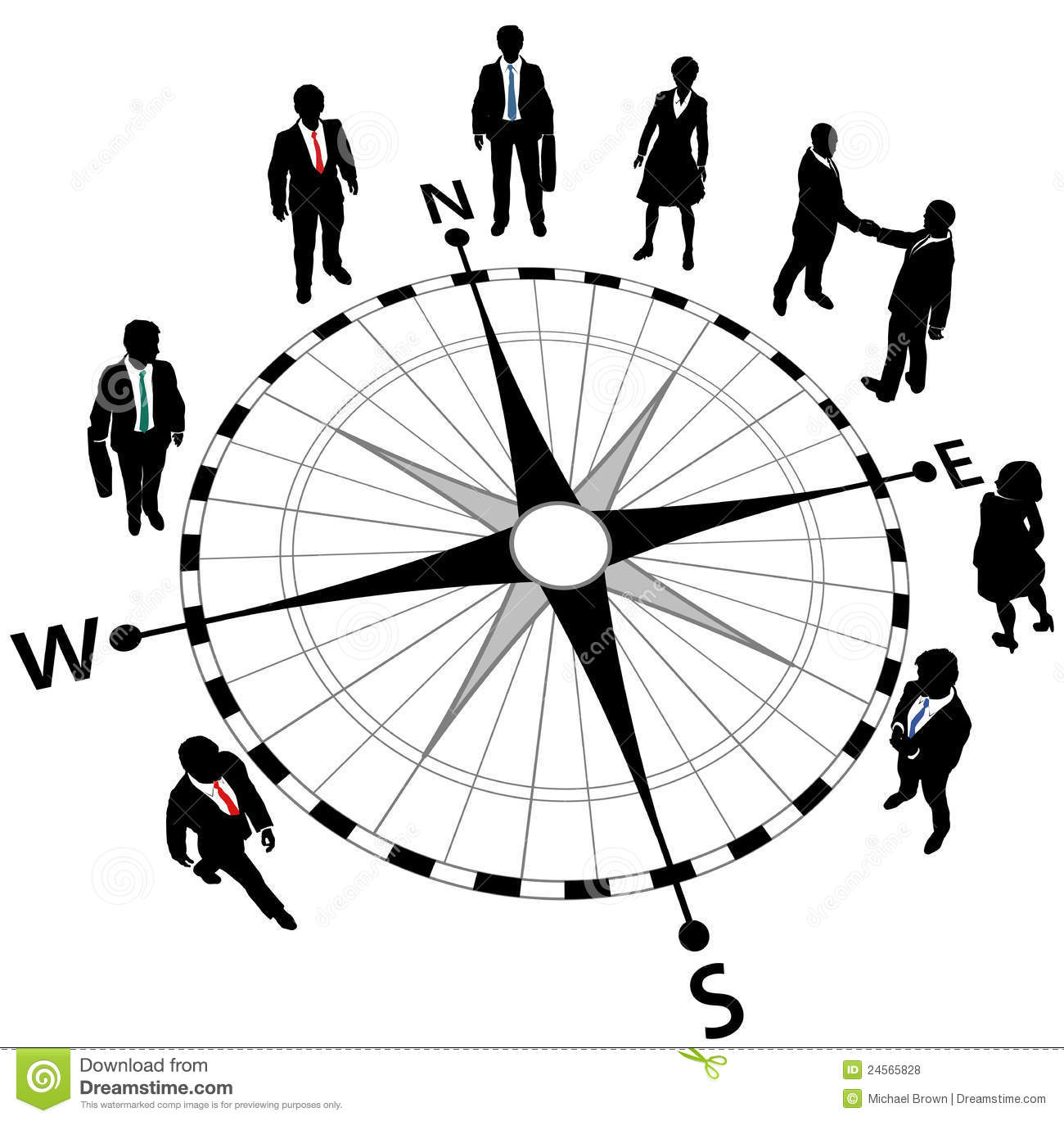 Business People Strategy Compass Directions Royalty Free