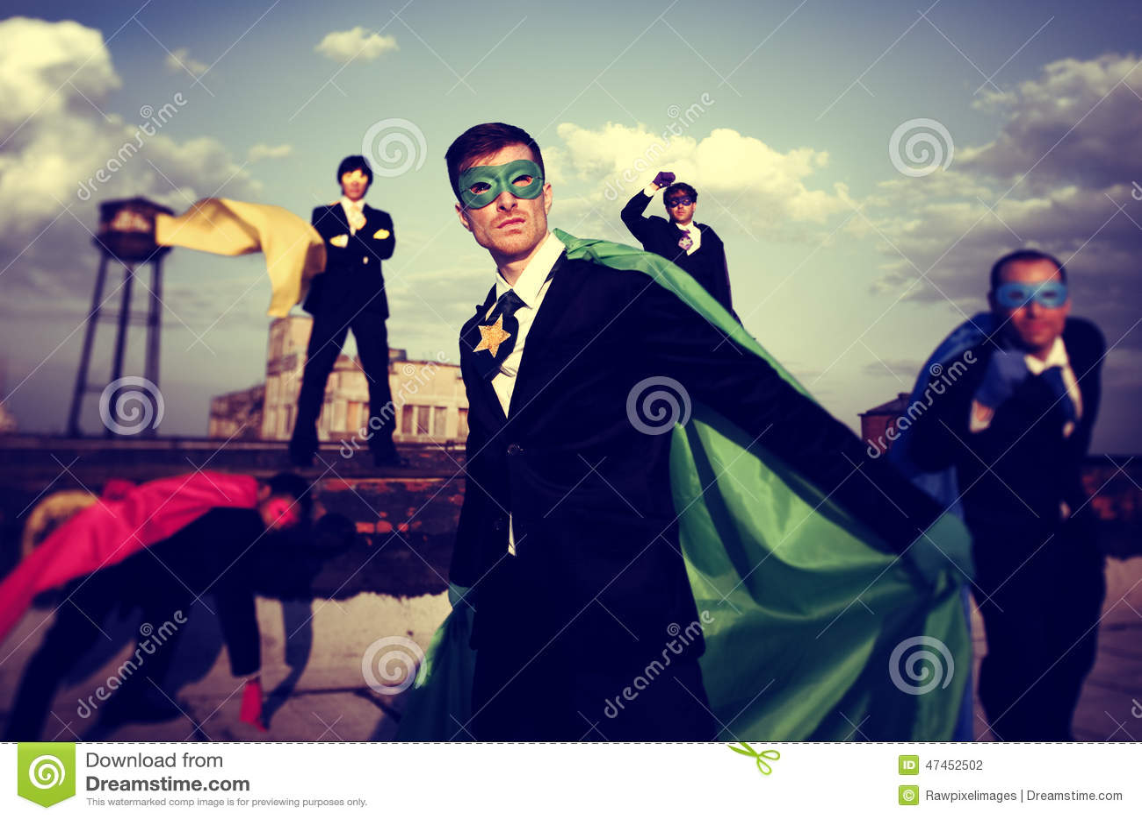 Business People Superhero Confidence Team Work Concept