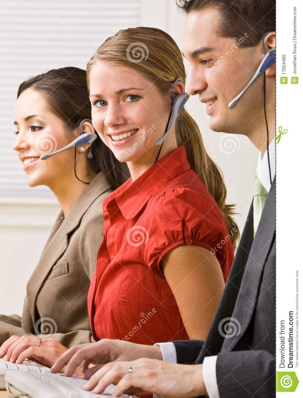 Business People Talking On Headsets Stock Image Image Of
