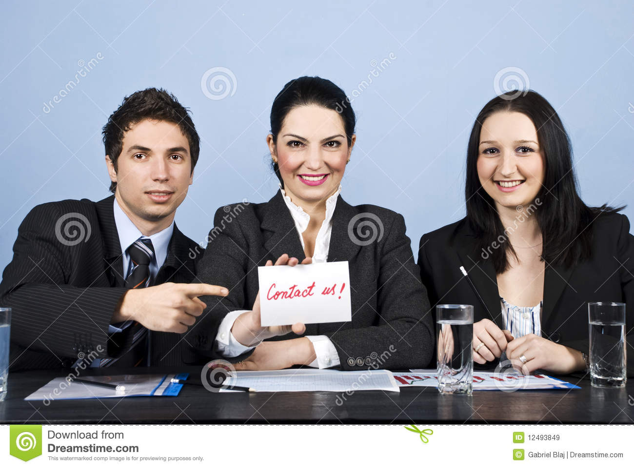 Download Business People Team With Contact Us Message Stock Image - Image of formalwear, cheerful: 12493849