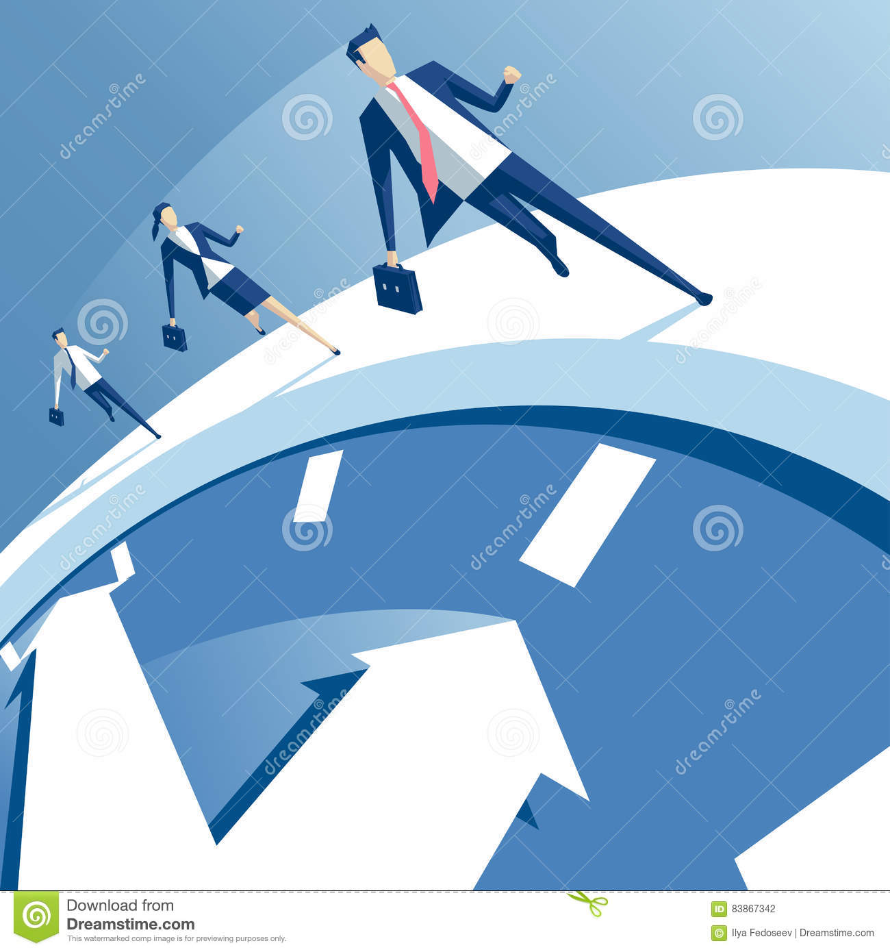3686b85c Business people run on the white clock, businessmen try to outrun time.  business concept of time pressure and race against time vector illustration
