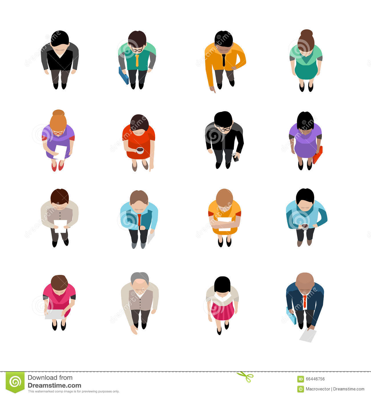 Stock Illustration Business People Top View Standing Going Flat Isolat...