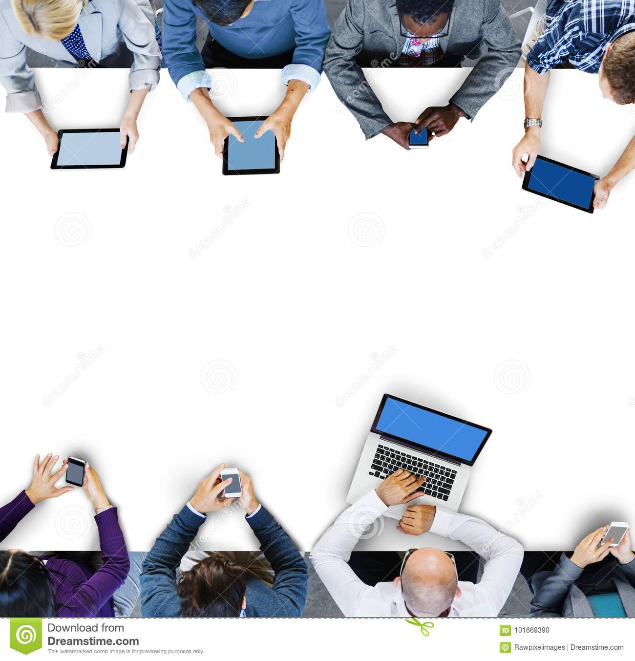 Business people using digital devices in a meeting