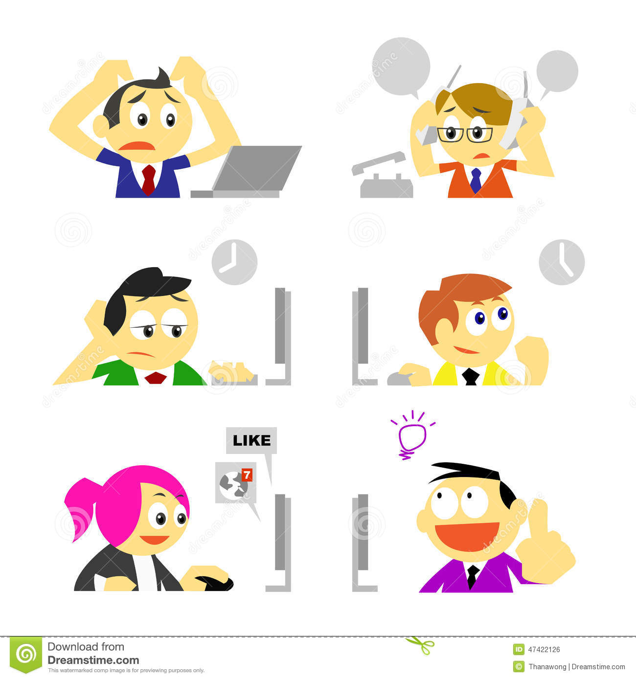 Business people and various behavior in office