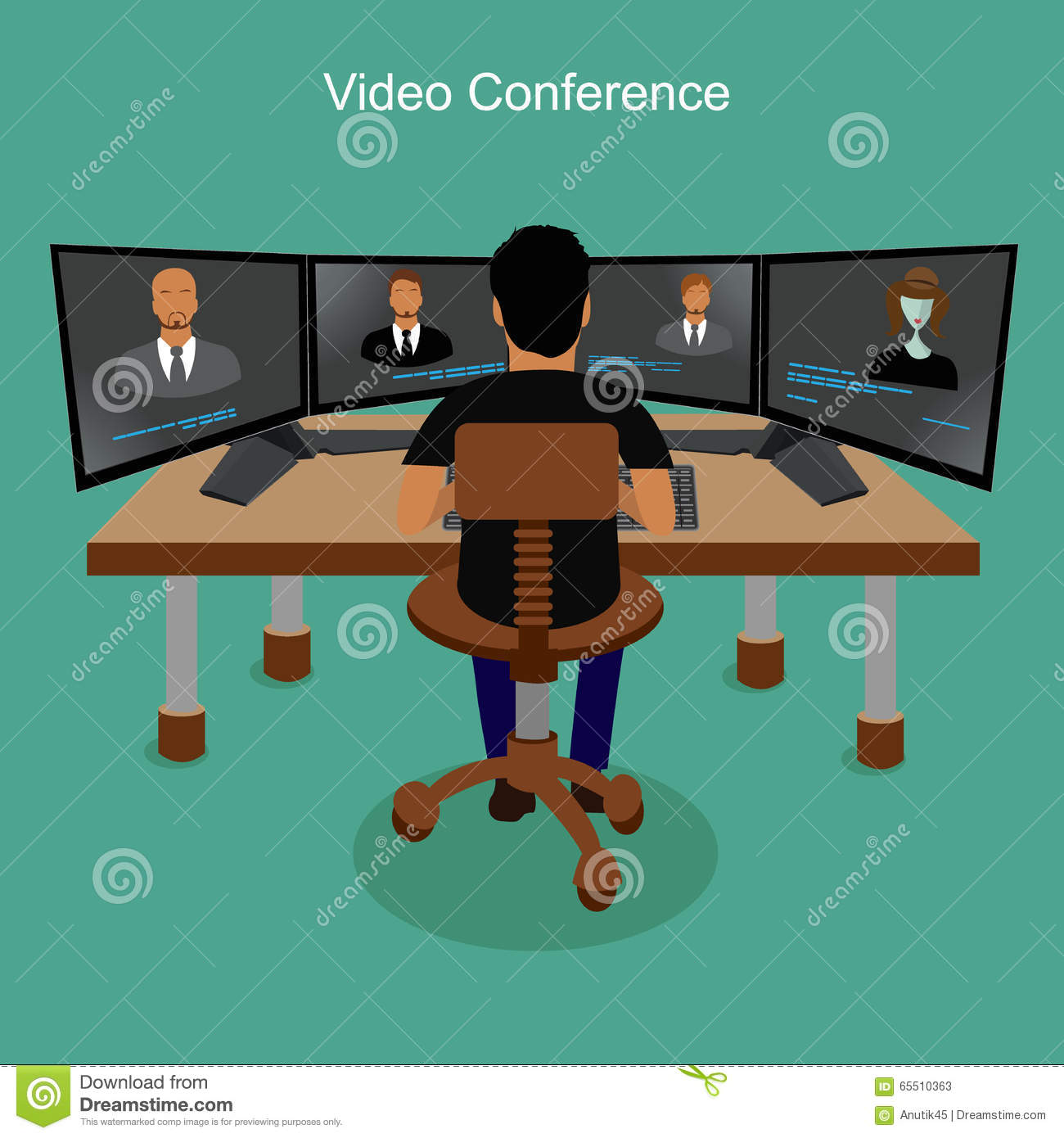 Business People Video Conferencing, Vector Illustration ...