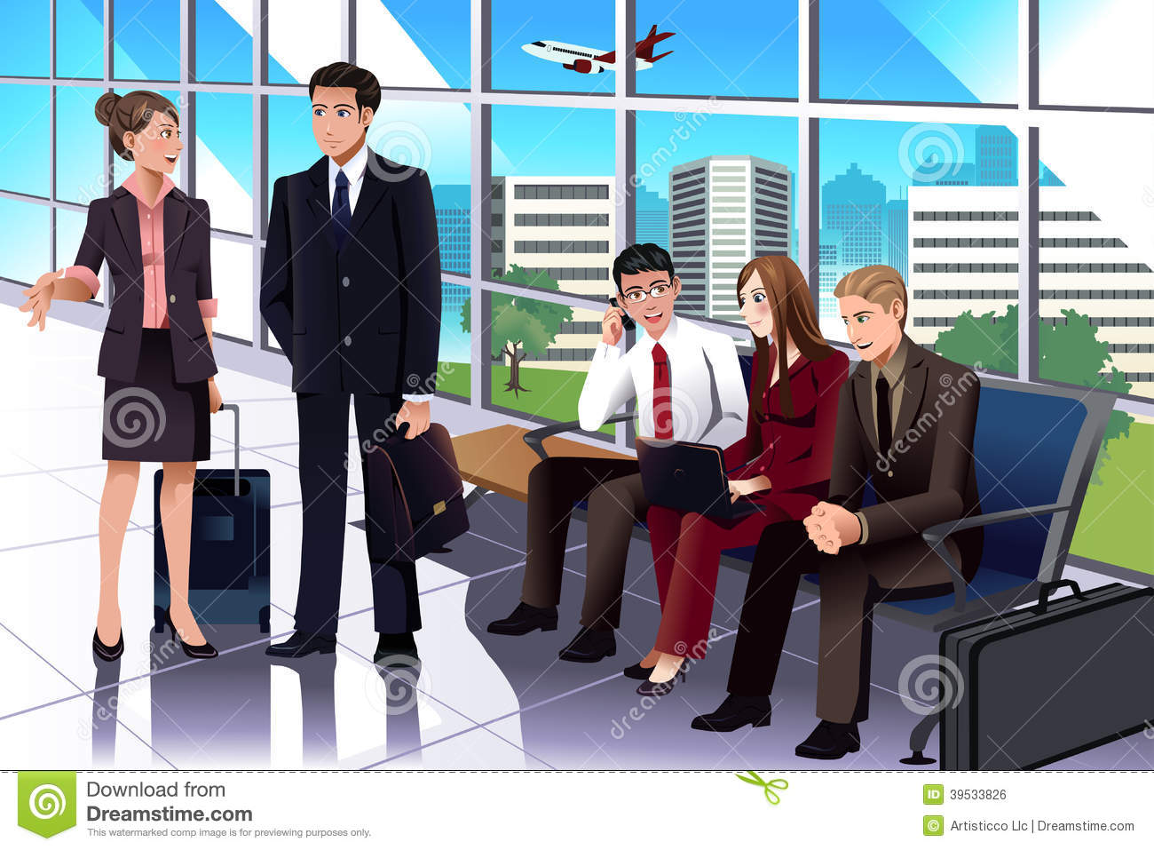 Free 3d Room Planner Business People Waiting In The Airport Stock Vector