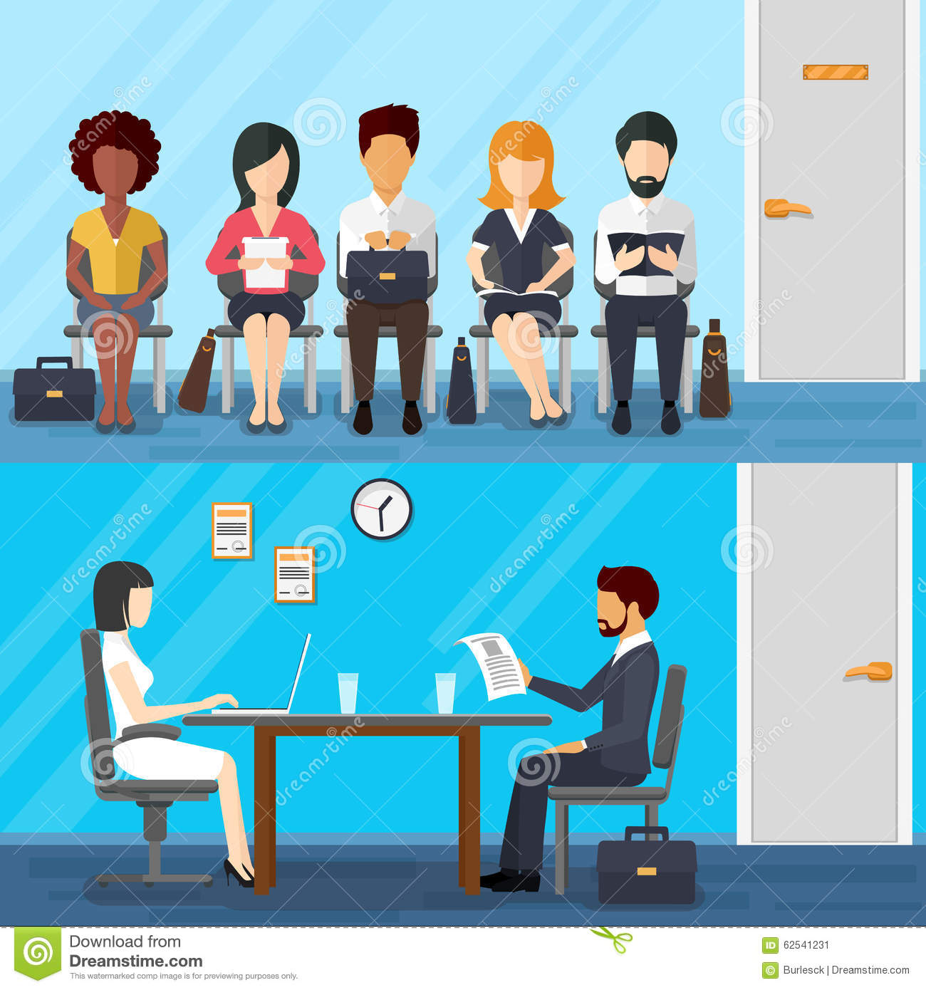 business people waiting for job interview vector stock vector business people waiting for job interview vector