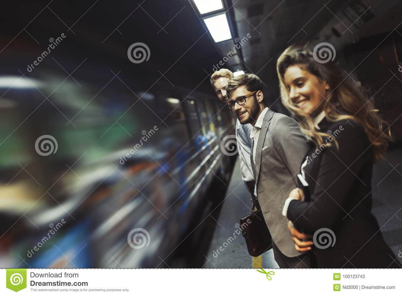 Business people waiting for subway