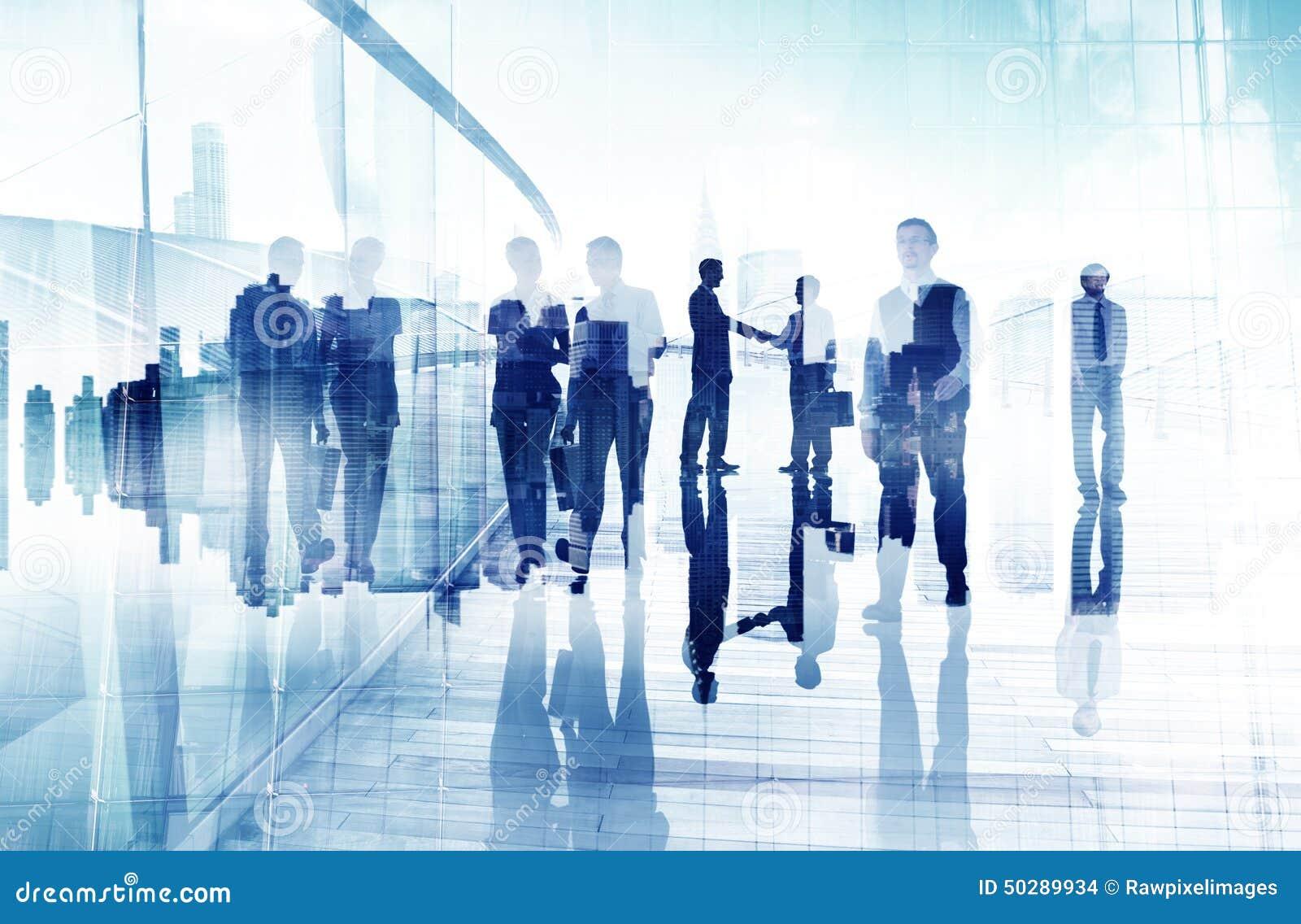 Business People Walking Handshake Professional Urban City Concept