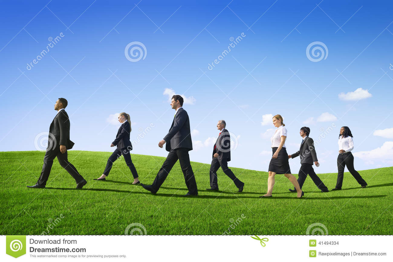 Business People Walking Outdoors The Way Forward Stock ...