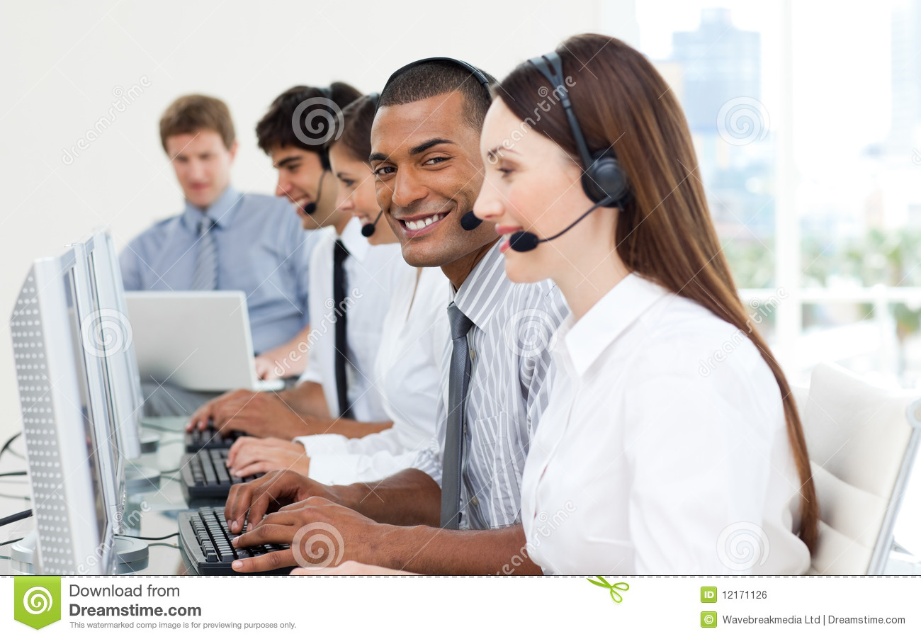 Business People Working In A Call Center Royalty Free