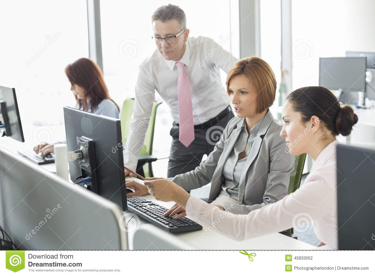 Business People Working On Computer In Office Stock Photo ...
