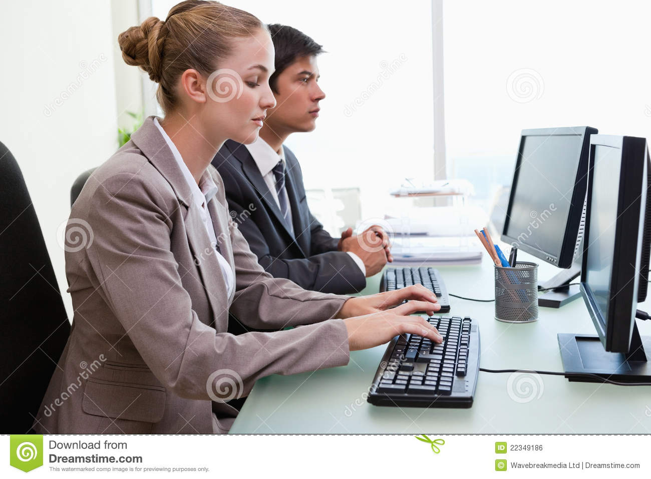 Business People Working With Computers Royalty Free Stock ...