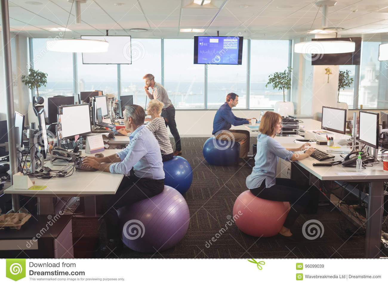 Phenomenal Business People Working At Desk While Sitting On Exercise Home Interior And Landscaping Ponolsignezvosmurscom