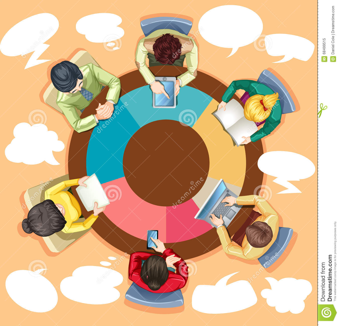 Business People Working On The Round Table Stock Vector Image - Round table clip art