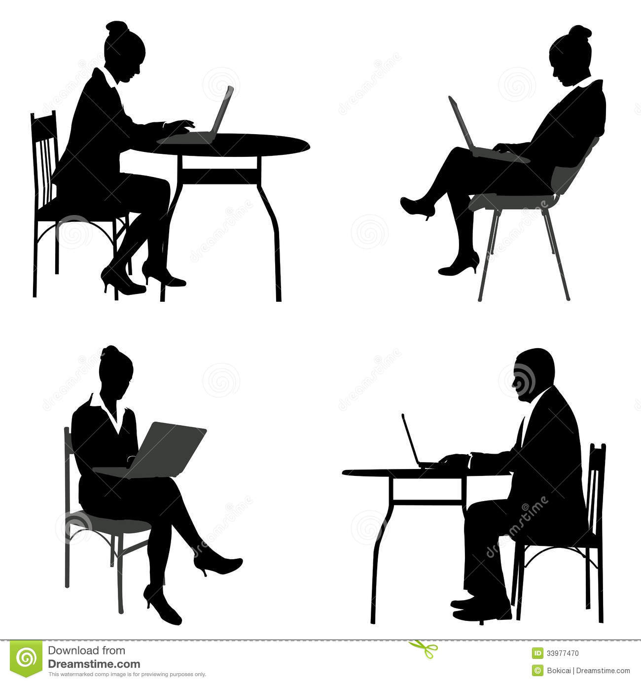 People sitting in chairs silhouettes  Vector download