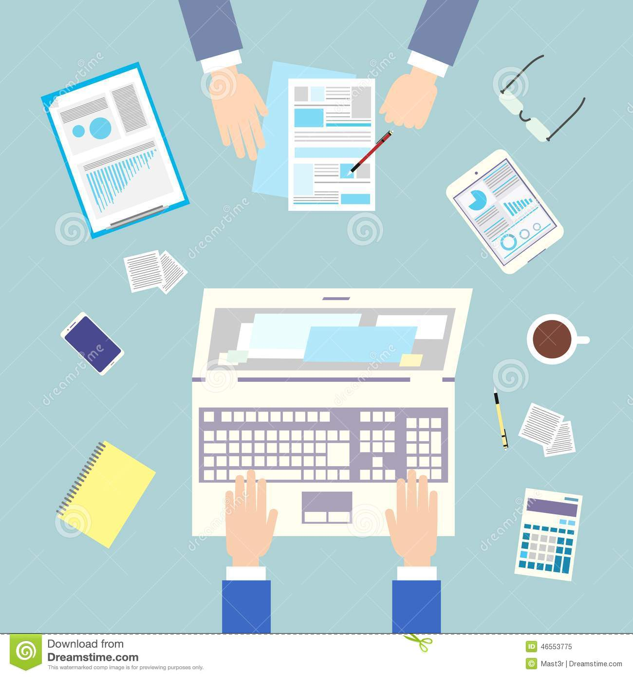 Business People Workplace Top Angle Above View Stock