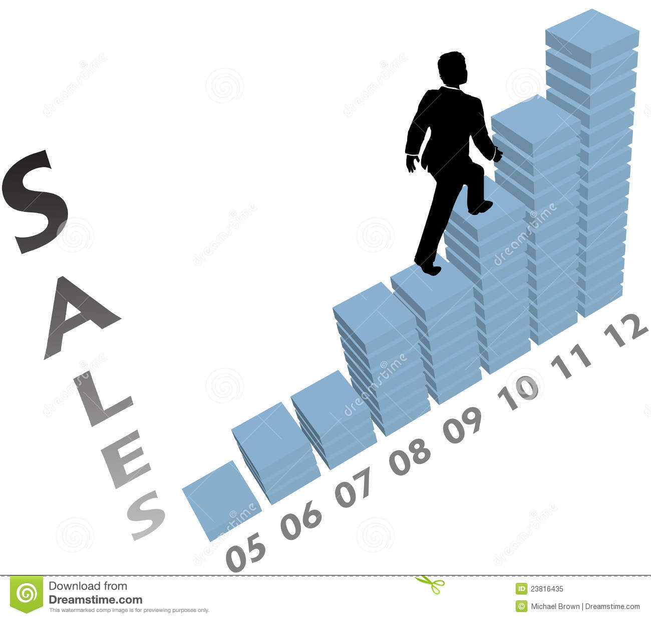 Business Person Climbs Up Marketing Sales Chart Royalty