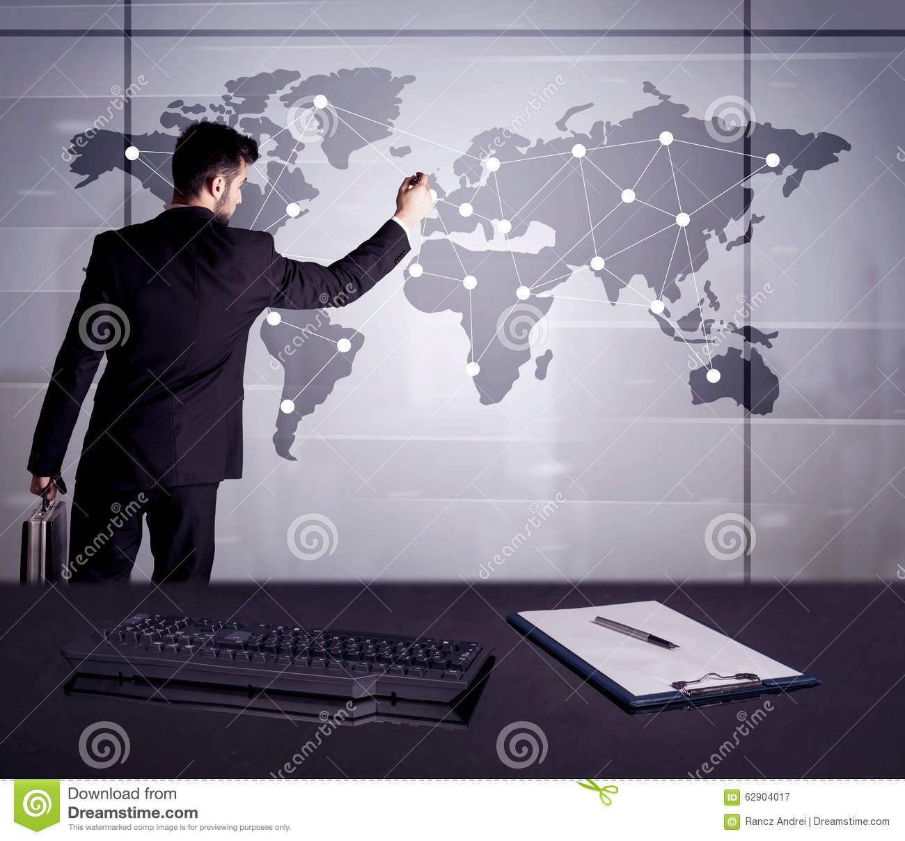 Business Person Drawing Dots On World Map Stock Image Image