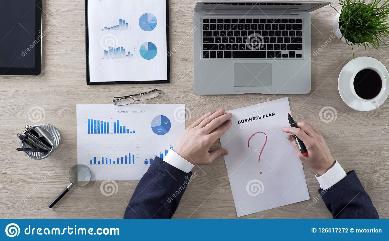 Business Person Drawing Question Mark On Business Plan Lack Of