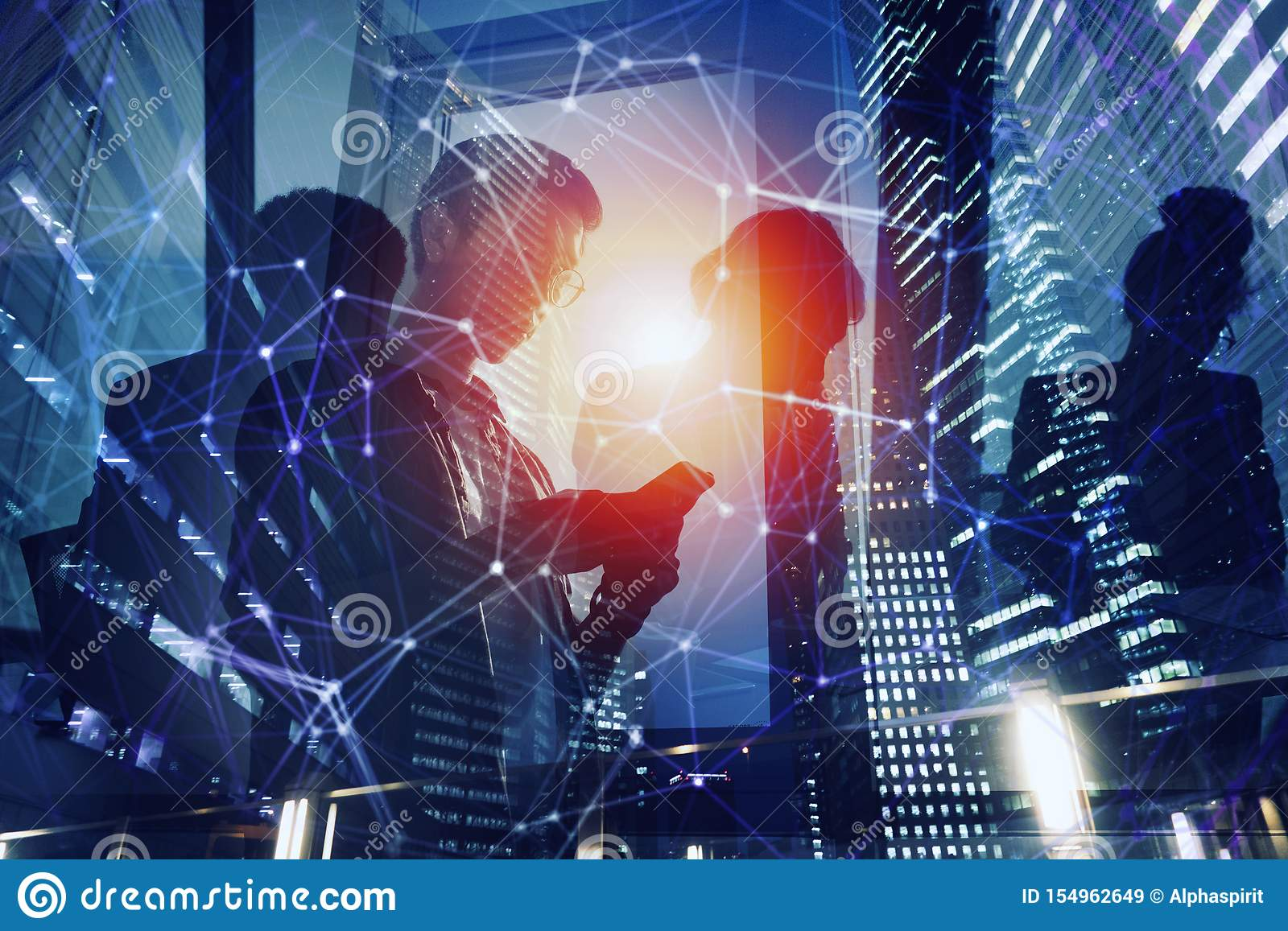 Business person in office connected on internet network. concept of startup company. Double exposure