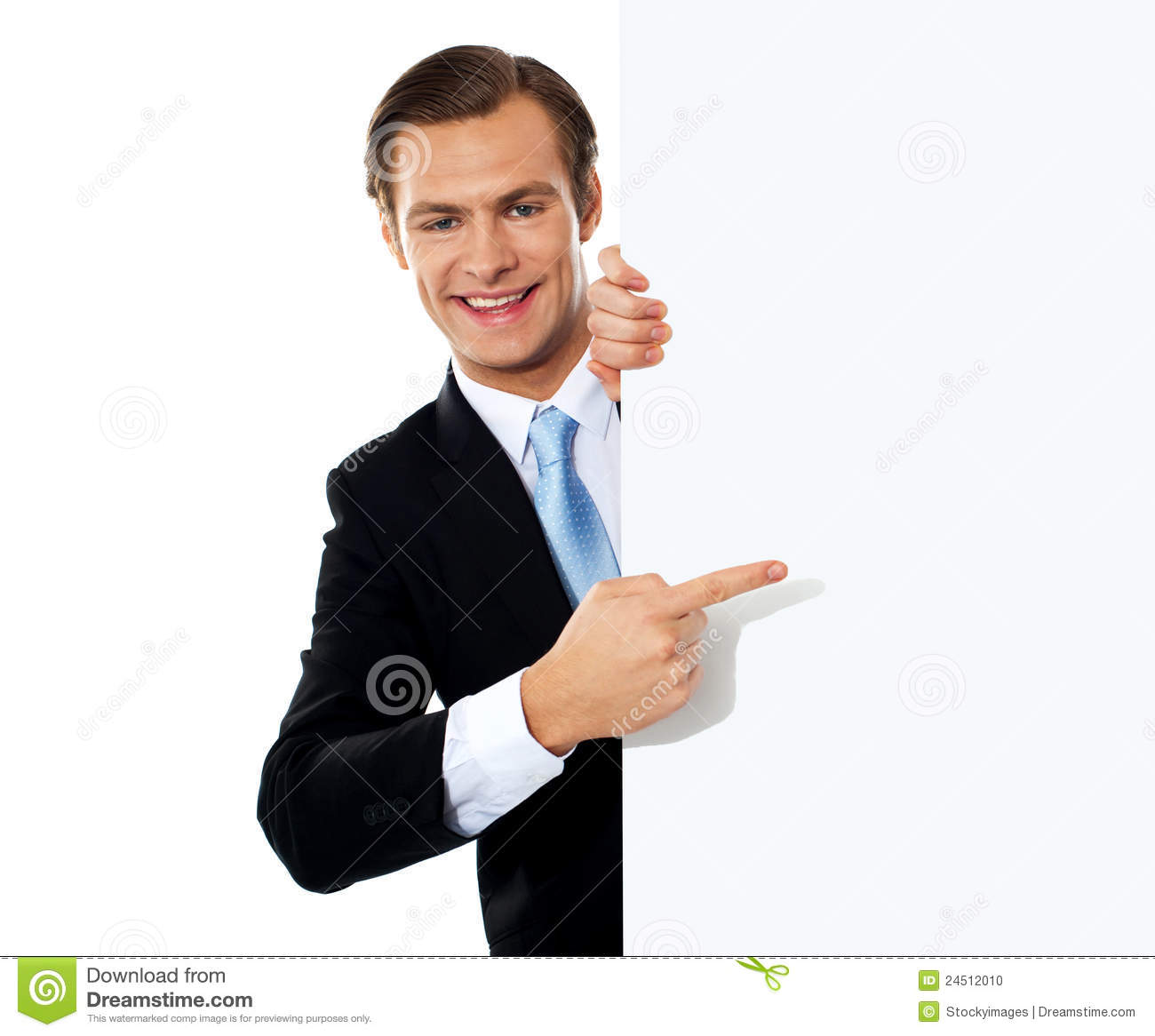 Business Person Pointing Towards Blank Signboard Stock