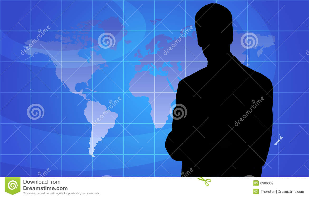 Business Person Silhouette, World Map Background