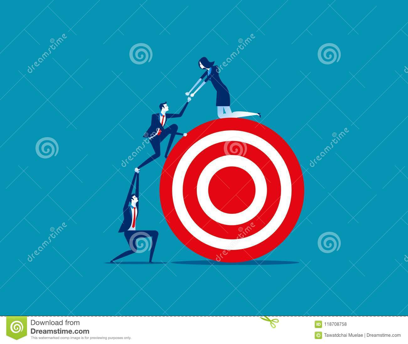 Business person team work towards the target. Concept business v