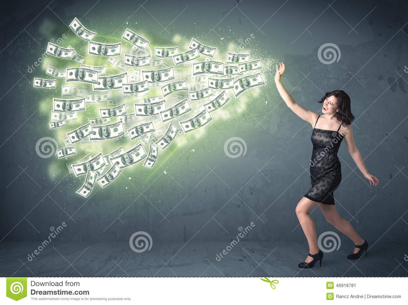 Business person throwing a lot of dollar bills concept