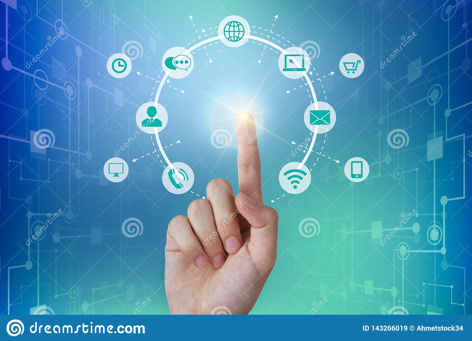 Business person touching a global network connection, communications concept