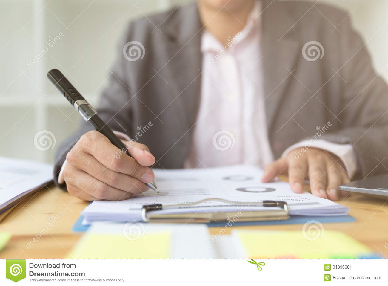 business person working in office marketing plan researching p