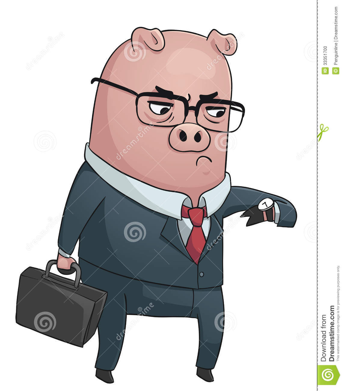 Vector illustration of a business pig wearing a suit, holding a ...