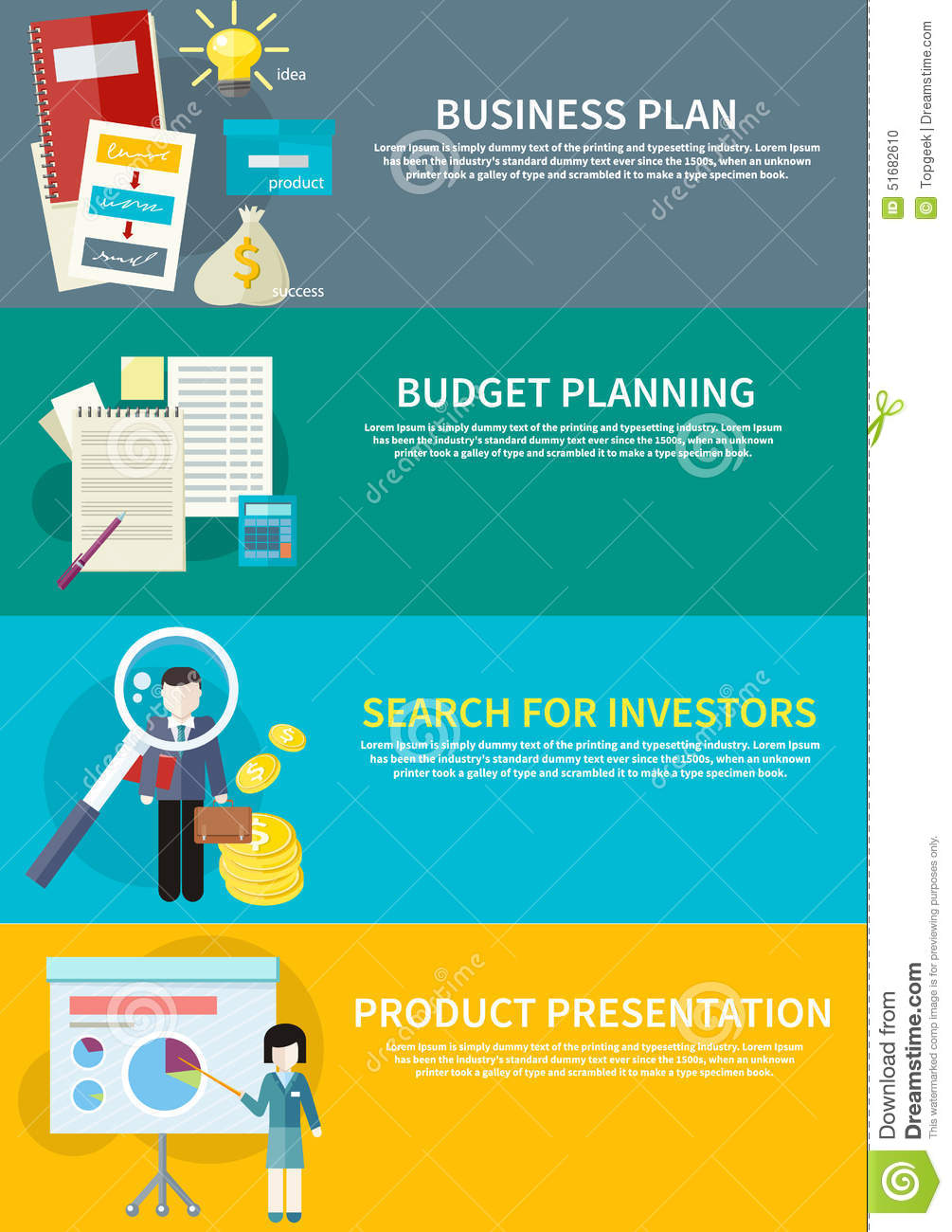 business plan budget planning search investors stock vector