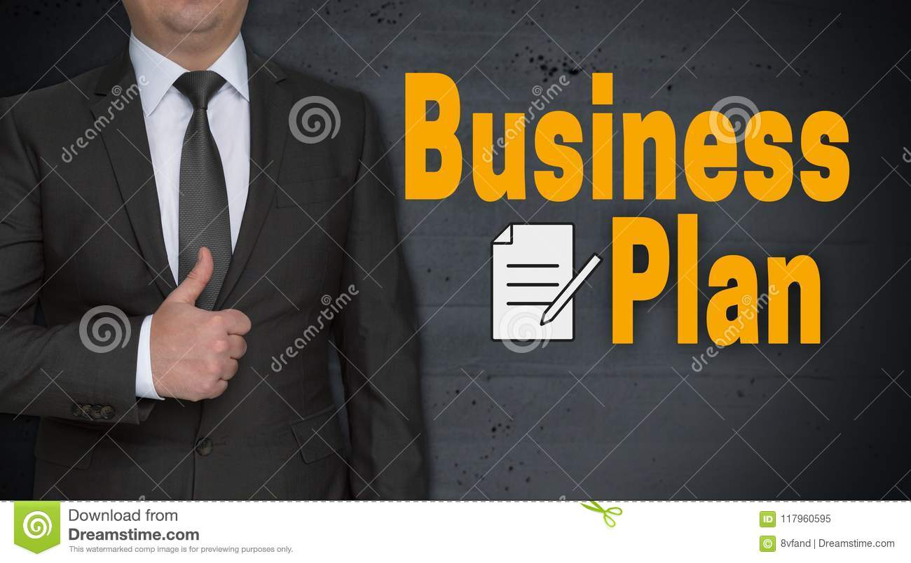 Business plan concept and businessman with thumbs up