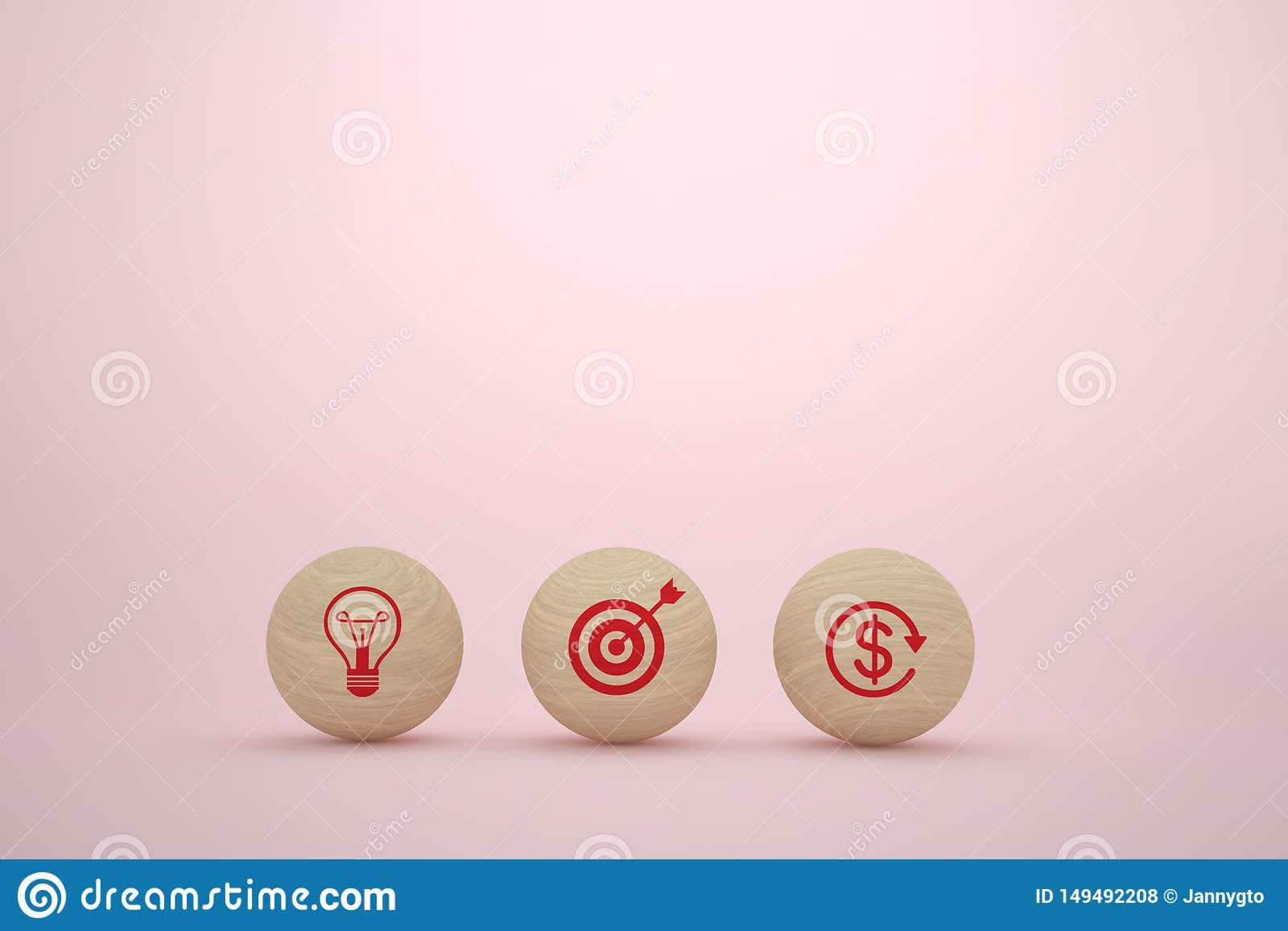 Business plan concept with wooden sphere with icon business strategy and action plan on pink background.