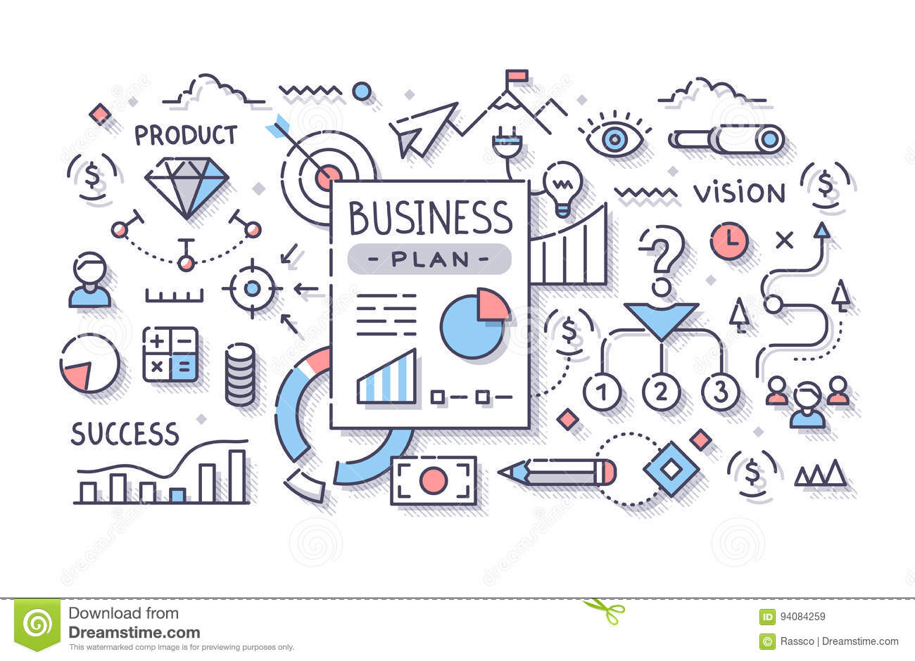 business plan stock vector illustration of startup concept 94084259