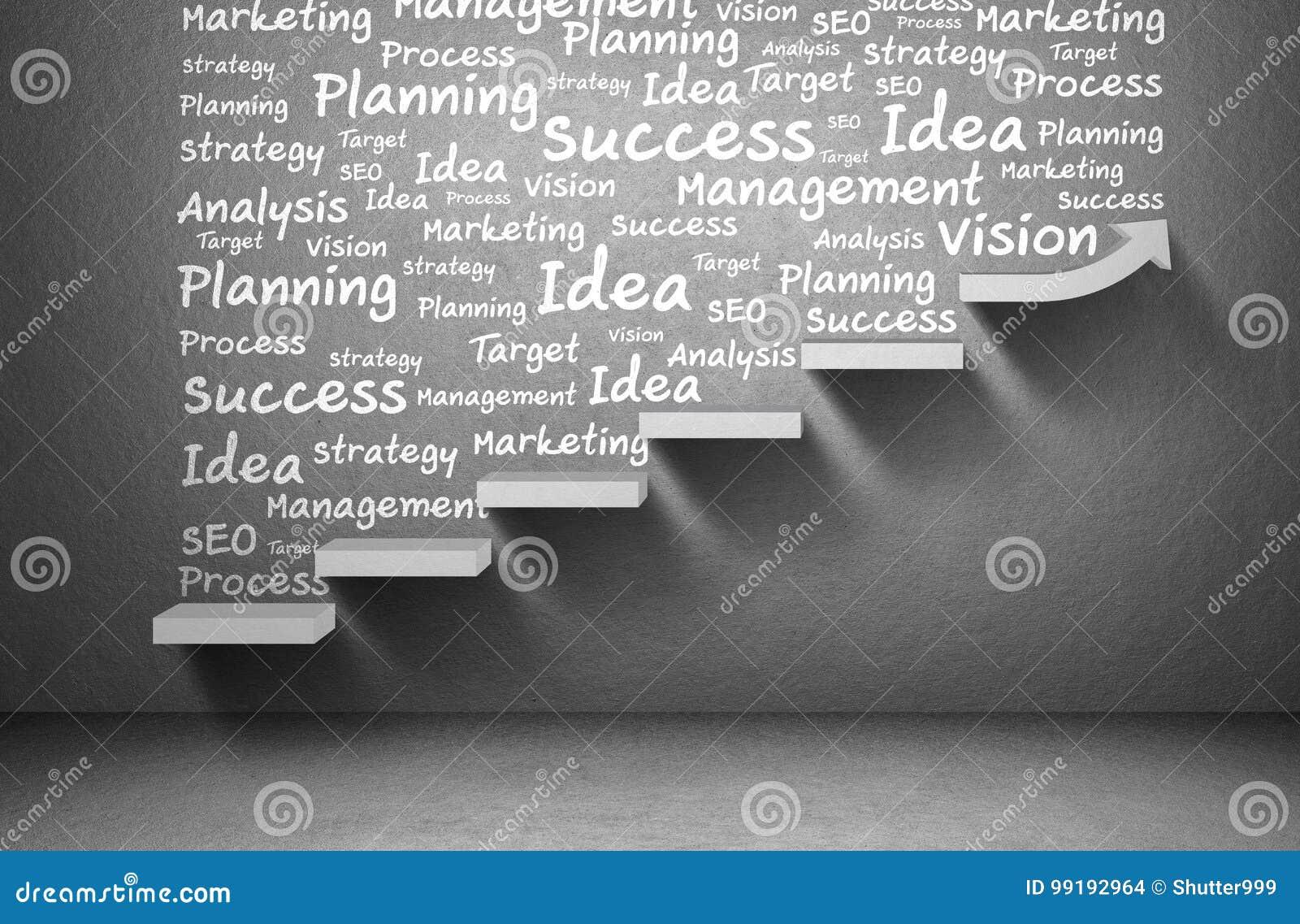 Business plan e strategia e grafico in aumento della freccia a successo sulla scala