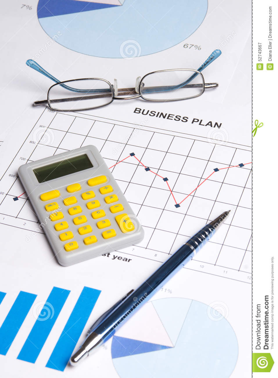 Business Plan With Graphs, Charts And Calculator Stock Photo ...
