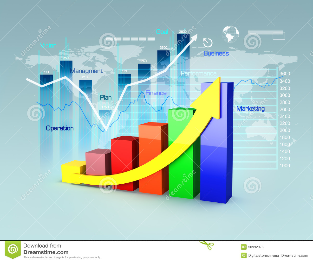 Finance Graph: Business Plan With Graphs And Charts Stock Illustration