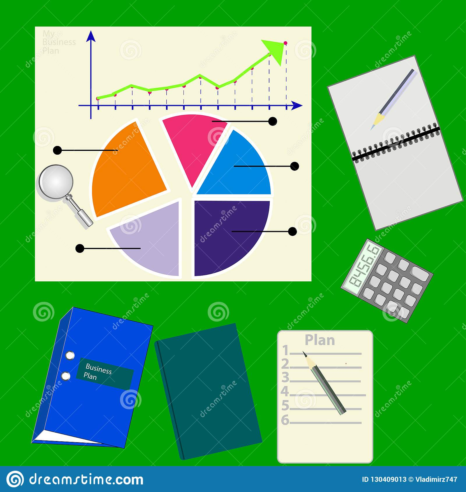 business plan image concept with documents diagram graph stock