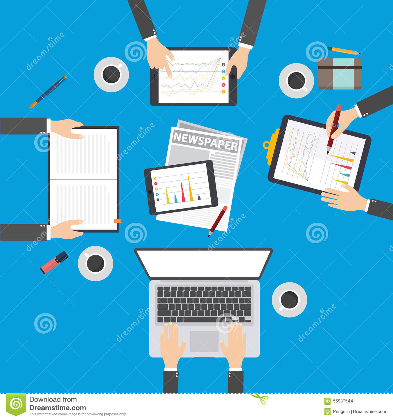 business plan meeting annual report flat concept stock vector