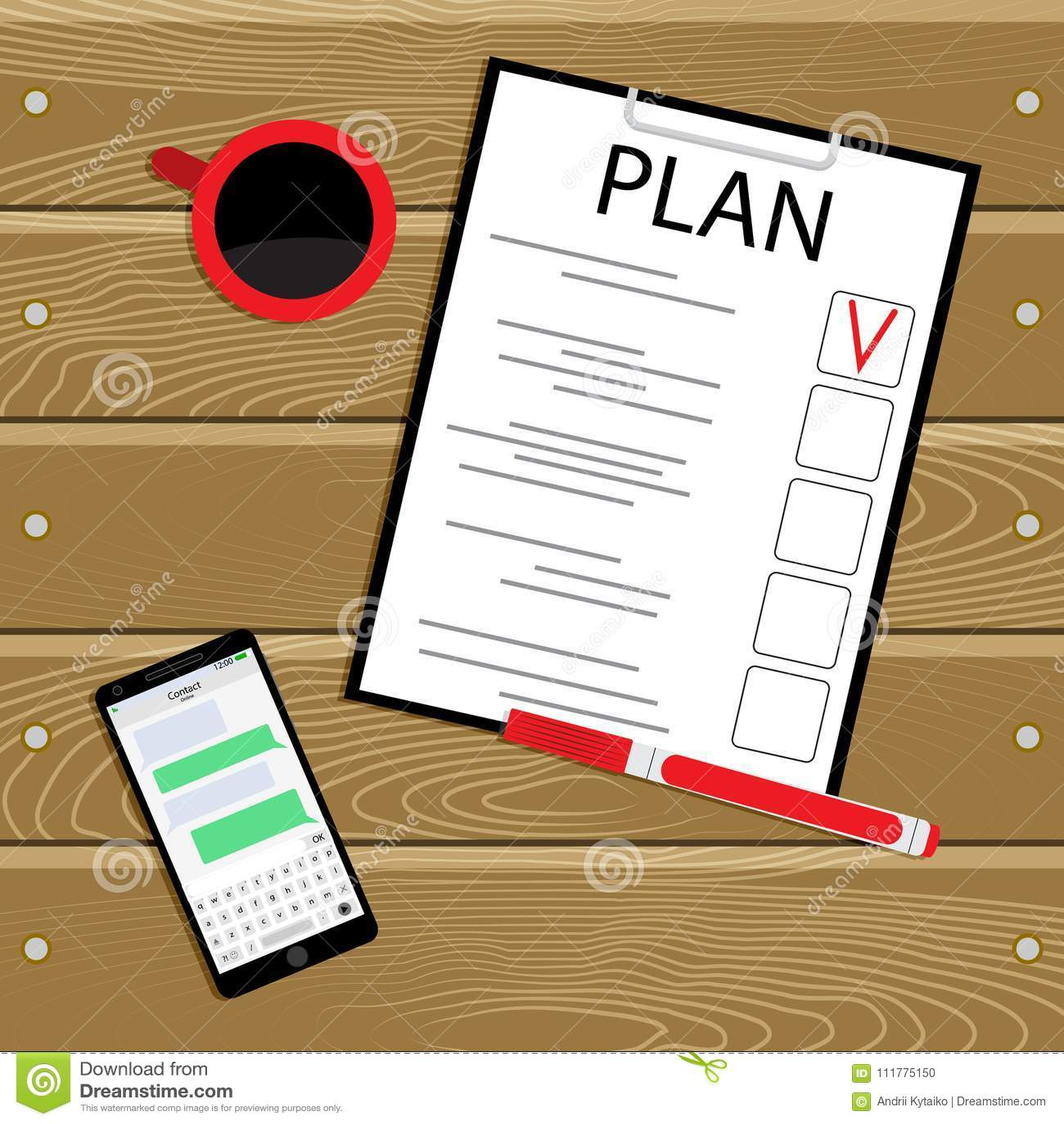 Business plan top view vector