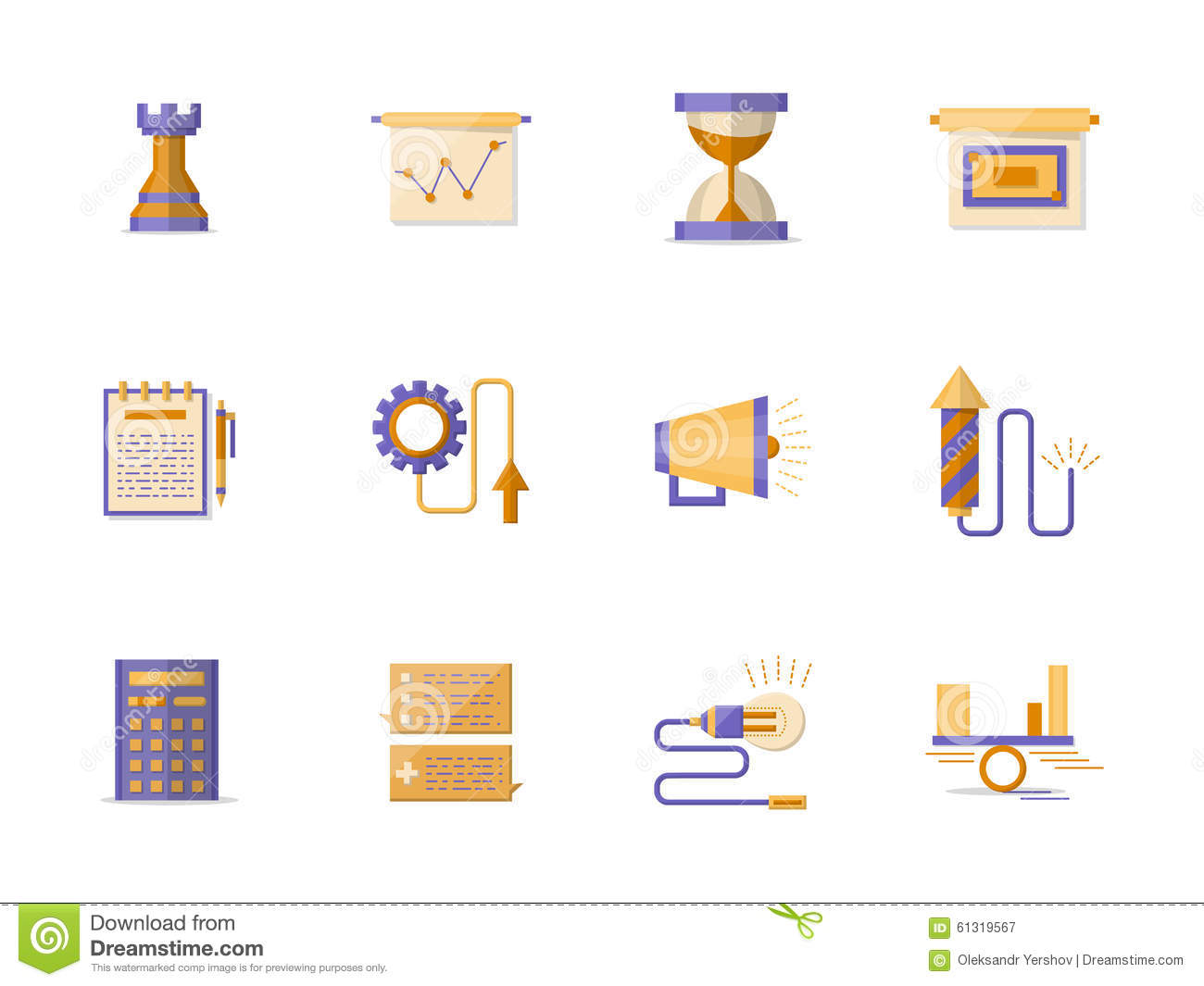 business planning flat color icons stock illustration